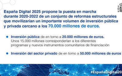 La Agenda España Digital 2025 movilizará una inversión pública y privada de 70.000 millones de euros