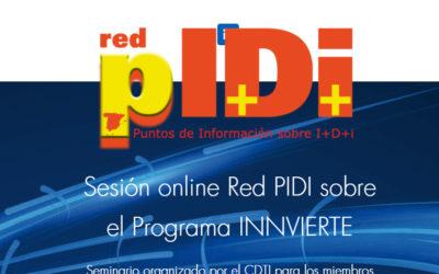 La Red PIDI celebra sesión informativa online centrada en el Programa INNVIERTE del CDTI